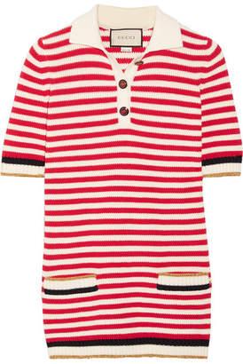 Gucci Striped Stretch Cotton-blend Top - Red