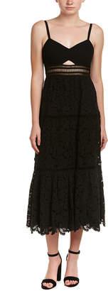 Rebecca Taylor Cutout Silk-Trim Midi Dress