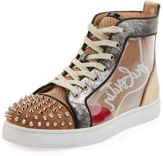 Christian Louboutin Men's Louis Spikes High-Top Sneakers