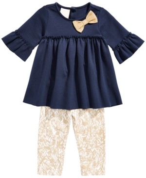 First Impressions Baby Girls 2-Pc. Ponte-Knit Tunic & Printed Leggings Set, Created for Macy's