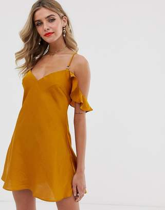 Free People What I Want sateen cold shoulder dress