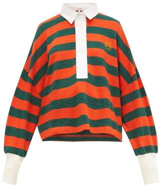 Loewe Striped Cotton Knit Polo Top - Womens - Orange Multi