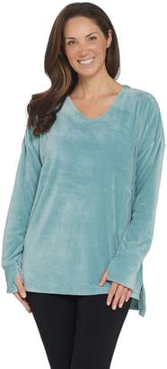 Cuddl Duds Double Plush Velour V-Neck Long Sleeve Top