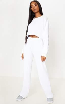PrettyLittleThing Cream Soft Rib Wide Leg Casual Trouser