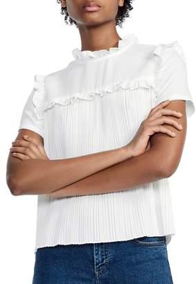 Maje Lamou Ruffled Pleated Tie-Back Top