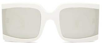 Celine Reflective Lens Square Acetate Sunglasses - Womens - Ivory
