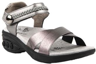 Therafit Leather Adjustable Strap Wedge Sandals- Rose