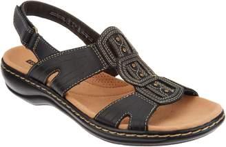 Clarks Leather Lightweight Adjustable Sandals - Leisa Vine