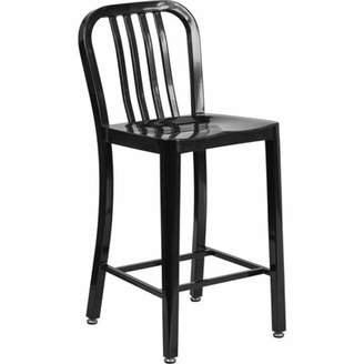 Williston Forge Williston Forge 24'' High Black Metal Indoor-Outdoor Counter Height Stool With Vertical Slat Back Williston Forge