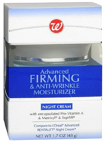 Walgreens Advanced Firming & Anti-Wrinkle Moisturizer Night Cream Compare to L'Oreal Revitalift ingredients