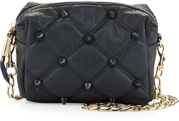 Deux Lux Empress Quilted Spiked Crossbody Bag, Navy
