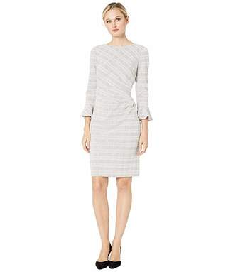 Lauren Ralph Lauren 167F Retro Knit Plaid Daria 3/4 Sleeve Day Dress