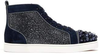 540f75d617a Christian Louboutin Lou Mix Spiked Suede High Top Trainers - Mens - Blue