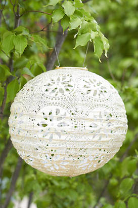 Anthropologie Floral Lace Solar Lantern