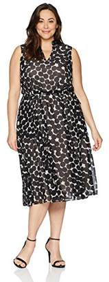 Anne Klein Women's Size Plus Drawstring MIDI Dress