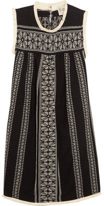 SEA - Embroidered Cotton And Linen-blend Gauze Mini Dress - Black $435 thestylecure.com