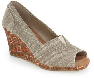 TOMS Emma Wedge Peep Toe Pump $79 thestylecure.com