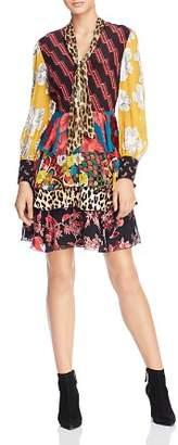 Alice + Olivia Dasha Mixed-Printed Tie-Neck Tiered Dress
