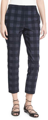 Rosetta Getty Gingham Cropped Skinny Trousers, Navy