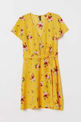 H&M Creped Wrap-front Dress - Yellow