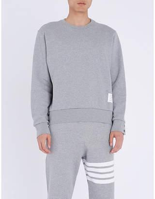 Thom Browne Logo-taping cotton-jersey sweatshirt