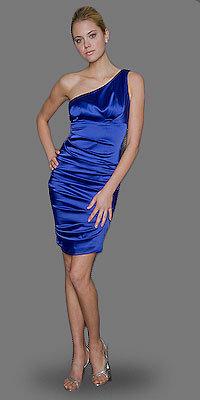 Cobalt One Shoulder Satin Dresses by Nicole Miller