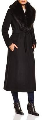 Calvin Klein Faux Fur Trim Wrap Coat