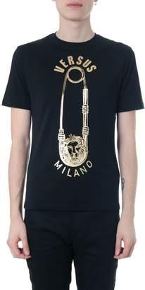 Versace Black Cotton T-shirt With Golden Logo
