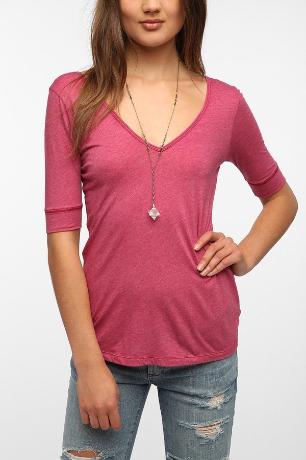 Truly Madly Deeply 3/4 Sleeve V-Back Tee