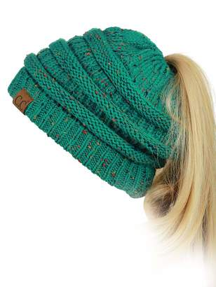 at Amazon Canada · C.C C C BeanieTail Soft Stretch Cable Knit Messy High  Bun Ponytail Beanie Hat af1ba877e3c1