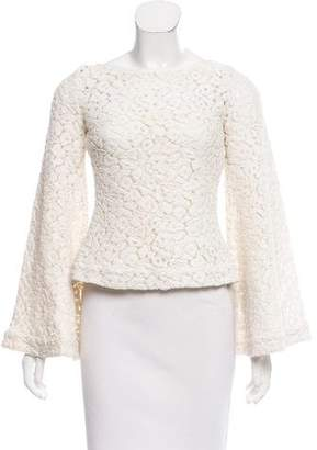 Elizabeth and James Guipure Lace Bell Sleeve Top