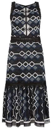 Jonathan Simkhai Navy Ruffled-hem Lace Dress
