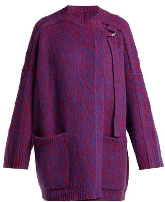 Chloé Brushed Wool And Cashmere Blend Cardigan - Womens - Blue Multi