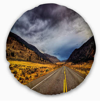 "Columbia Designart Mountain Desert Highway British Landscape Printed Throw Pillow - 20"" Round"