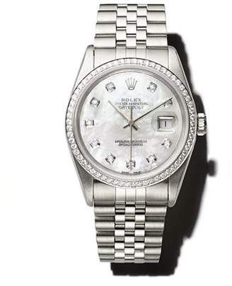 Mother of Pearl Pre-Owned Rolex Stainless Steel and 18K White Gold Datejust Watch with Mother-of-Pearl Dial and Diamond Bezel, 36mm