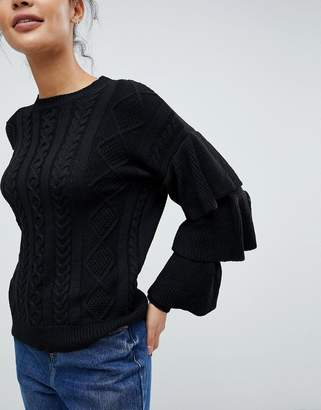 Fashion Union Cable Knit Jumper With Frill Sleeves