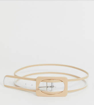 Glamorous clear and beige waist and hip jeans belt
