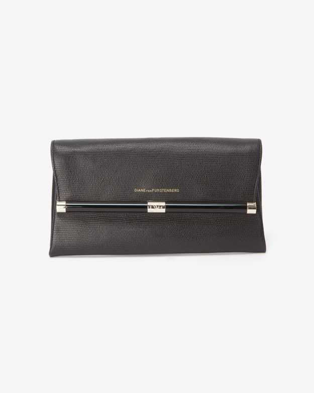 Diane von Furstenberg Embossed Lizard Envelope Clutch: Black