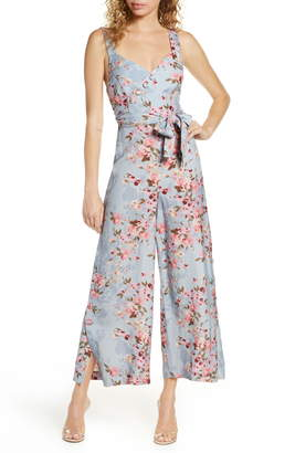 Ever New Floral Split Wide Leg Linen Blend Jumpsuit