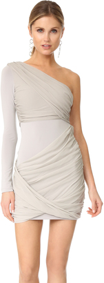 alice + olivia Crissy Wrap One Sleeve Goddess Dress $350 thestylecure.com
