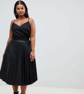 Outrageous Fortune Plus pleated pu midi skirt in black