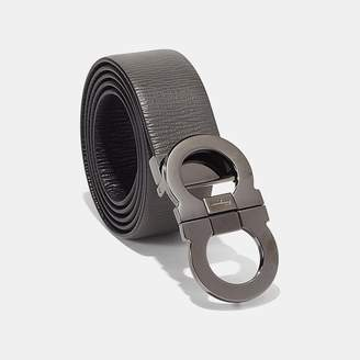 Salvatore Ferragamo Reversible Double Gancio Calfskin Belt