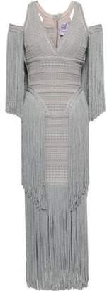 Herve Leger Cold-shoulder Fringed Metallic Jacquard-knit Midi Dress
