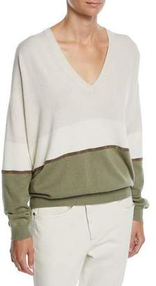 Brunello Cucinelli V-Neck Long-Sleeve Bicolor Cashmere Pullover Sweater