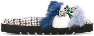Ermanno Scervino embellished fuzzy slides