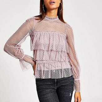 River Island Purple polka dot sheer long sleeve frill top