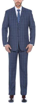 Verno Men's Color Mixture Plaid Classic Fit Notch Lapel Suit (Jacket and Pants)