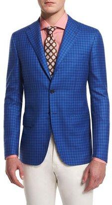 Kiton Cashmere-Blend Check Sport Coat, Blue $6,995 thestylecure.com