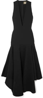 SOLACE London The Santana Ruffled Crepe Midi Dress - Black