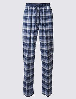 Marks and Spencer 2in Longer Pure Cotton Checked Pyjama Bottoms